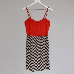 Black/Tan Chevron Dress w/ Bright Orange Top